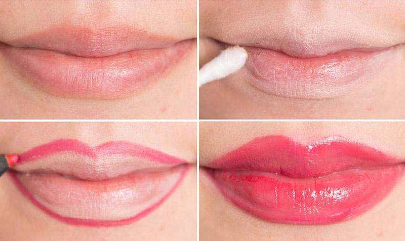 Για ωραιότερο σχήμα στα χείλη, τα καλύπτετε με κονσίλερ, στη συνέχεια κάνετε το περίγραμμα με μολύβι χειλιών σε μία ουδέτερη απόχρωση και στη συνέχεια με μολύβι στην απόχρωση του κραγιόν. Τελειώνετε με λιπγκλός ή γυαλιστερό κραγιόν για ζουμερό αποτέλεσμα.
