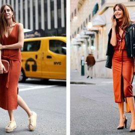 Το κλειδί είναι να προτιμήσετε φούστες και φορέματα κάτω από το γόνατο και με απαλές γραμμές // Συνδυάστε ένα φόρεμα στην απόχρωση της τερακότας με μαύρο, π.χ. ένα μαύρο δερμάτινο σακάκι