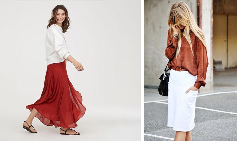 Μία μακριά φούστα στο χρώμα της τερακότας με φλατ σανδάλια ή ένα μεταξωτό πουκάμισο με λευκή pencil φούστα για το γραφείο