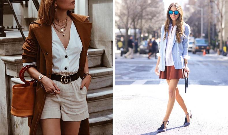 Φορέστε ένα πανωφόρι και αξεσουάρ στο χρώμα της τερακότας με ζαχαρί και ανάλογα λαμπερά κοσμήματα // Γαλάζιο, λευκό και μπλε με μία φούστα στο χρώμα της σκουριάς για τα πρώτα βήματα του φθινοπώρου