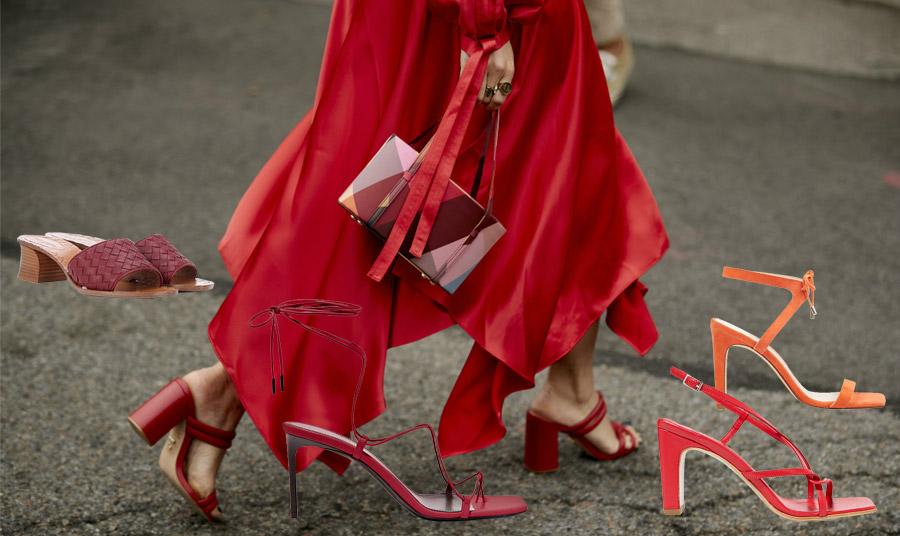 Σε έντονα χρώματα: Μπορντό με μέτριο τακούνι, Bottega Veneta // Ψηλοτάκουνα στιλέτο σε κόκκινο χρώμα, Saint Laurent // Σε λαμπερό πορτοκαλί, Nine West // Κόκκινο πέδιλο, By Far