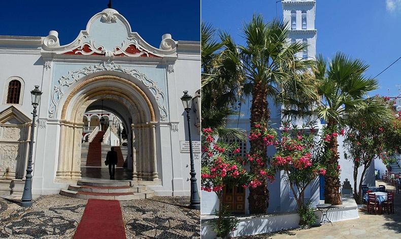 Η είσοδος του Ναού της Ευαγγελίστριας στη Χώρα της Τήνου // Στην πλατεία του χωριού Σμαρδάκιτο
