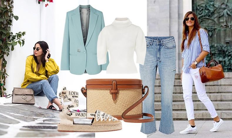 Δημιουργήστε ένα casual chic στιλ με ένα πουκάμισο, το τζιν ή λευκό παντελόνι σας, ένα σακάκι σε παστέλ απόχρωση και ψάθινα αξεσουάρ