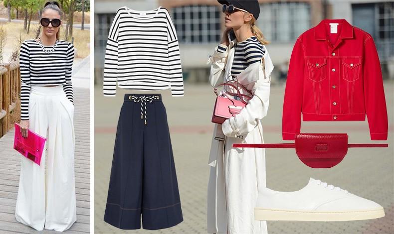 Η μαρινιέρα που σηματοδοτεί το navy look είναι πάντοτε μία ασφαλής και διαχρονική επιλογή. Συνδυάστε την με λευκή ή σκούρα μπλε παντελόνα, τα sneakers σας και ένα κόκκινο τζιν σακάκι ή λευκό πανωφόρι και κόκκινη τσάντα και είστε στο πνεύμα των ημερών!