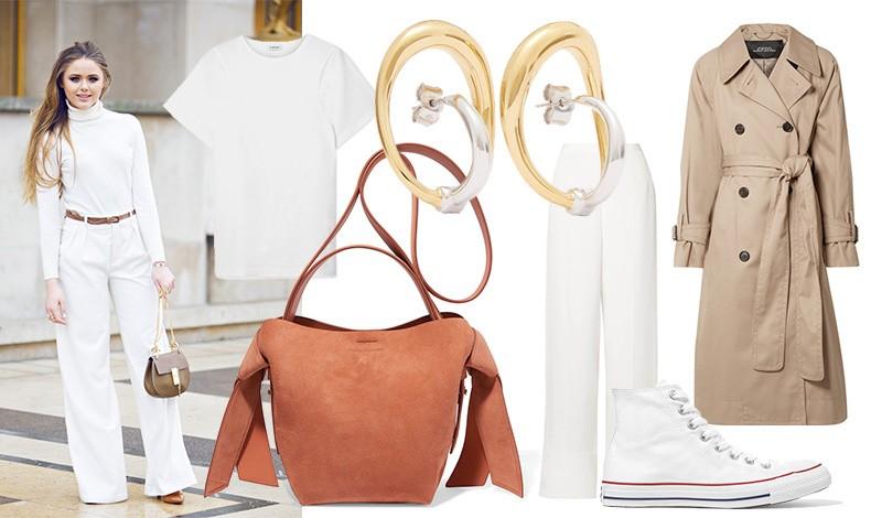 Το λευκό με τα γήινα χρώματα αποπνέουν έναν αέρα διακριτικής αίσθησης. Φορέστε π.χ. ένα λευκό παντελόνι με ένα λευκό T-shirt και συνδυάστε μία κλασική γκαμπαρντίνα και όμορφα χρυσά σκουλαρίκια