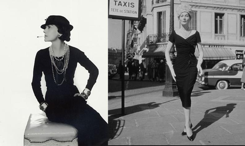 Η γυναίκα που έκανε μόδα το μαύρο χρώμα, όταν μέχρι τότε περιοριζόταν αποκλειστικά στα πένθιμα ρούχα! Η Coco Chanel φορώντας το η ίδια, και δεξιά ένα δείγμα της απόλυτης κομψότητας