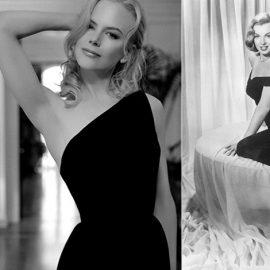 Χθες και σήμερα, το μαύρο κυριαρχεί! Η Νικόλ Κίντμαν με την τελευταία λέξη της μόδας, μαύρο φόρεμα με γυμνό τον ένα ώμο // Η Μέριλιν Μονρόε με σέξι μαύρο φόρεμα