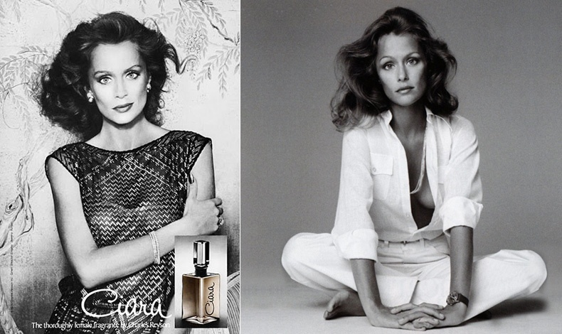 Lauren Hutton, η πεμπτουσία της μοντέρνας σοφιστικέ πλευράς του '70 ήταν το πρόσωπο της Revlon, εδώ σε διαφήμιση του αρώματος Ciara το 1979