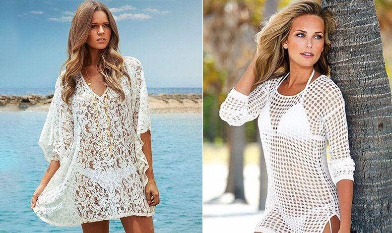 Δαντέλα ή πλεχτό λευκό φόρεμα πάνω από λευκό μαγιό είναι το απόλυτο καλοκαιρινό λουκ για τη θάλασσα