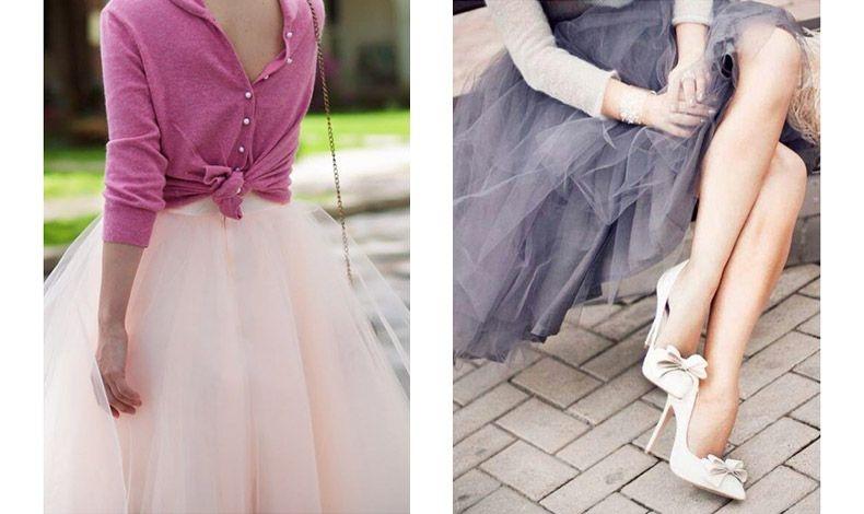Συνδυάστε την τούλινη φούστα σας με ένα ζακετάκι φορεμένο ανάποδα για κομψή και ελκυστική εμφάνιση // Ρομαντικό ύφος για την τούλινη φούστα με ψηλές γόβες