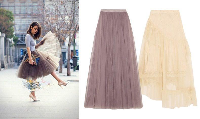 Ταιριάξτε την τούλινη φούστα με ένα λεπτό πλεκτό // Εξαιρετική τούλινη φούστα, Needle & Thread // Σε σαμπανιζέ απόχρωση, Simone Rocha