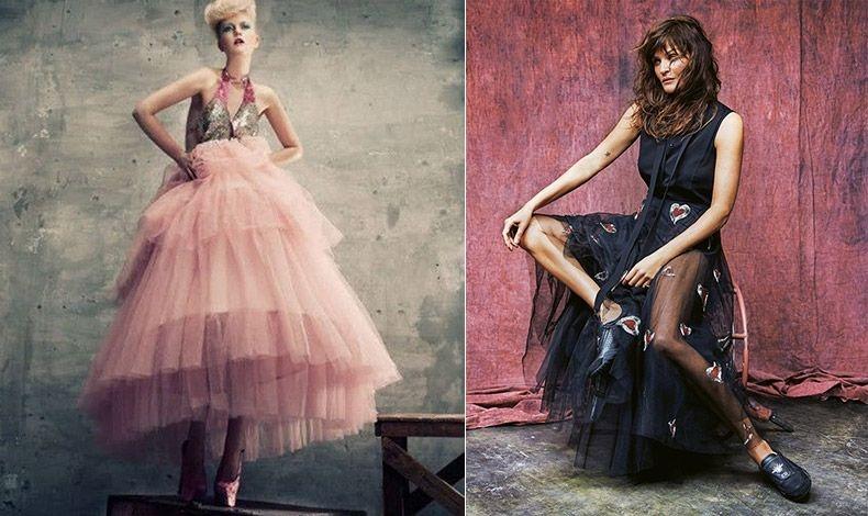 Mία μακριά φούστα με πολλές πτυχώσεις για βραδινή εμφάνιση // Ο οίκος Dior παρουσίασε μίντι τούλινες φούστες κεντημένες με καρδιές (φωτό: Helena Christensen, στο περιοδικό Grazia, τ. Φεβρουαρίου 2017)