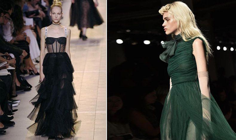 Μακριά τούλινη φούστα από τη συλλογή άνοιξη-καλοκαίρι 2017, Dior // Σε σκούρο πράσινο αέρινο τούλι, από τη συλλογή άνοιξη-καλοκαίρι 2017, Rochas