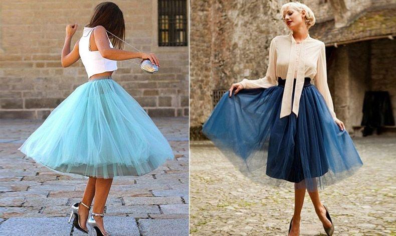 Απαλό γαλάζιο συνδυασμένο με λευκό τοπ και ψηλοτάκουνα ασημένια πέδιλα είναι ένας ιδανικός συνδυασμός // Θηλυκότητα και ρομαντική διάθεση, σκούρα μπλε τούλινη φούστα με κρεμ πουκάμισο και ανάλογο χτένισμα