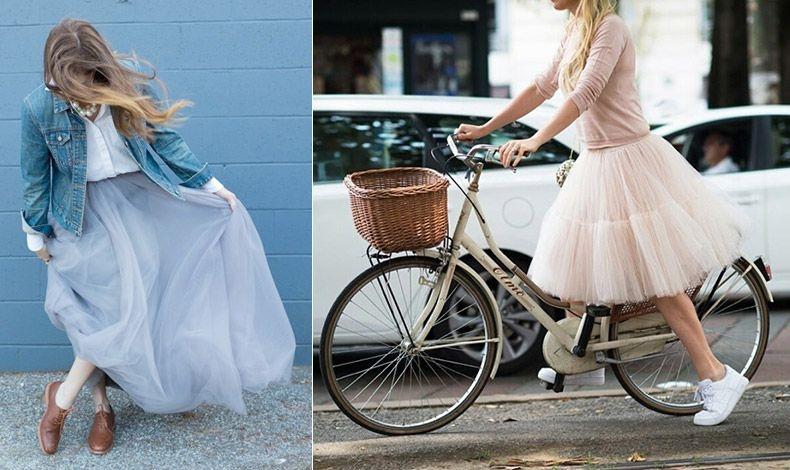 Φορέστε μία μακριά τούλινη φούστα με ένα τζιν σακάκι από το πρωί έως το βράδυ // Ταιριάζει εξίσου ωραία με ένα λεπτό πλεκτό και sneakers, ένας συνδυασμός άκρως μοντέρνος!