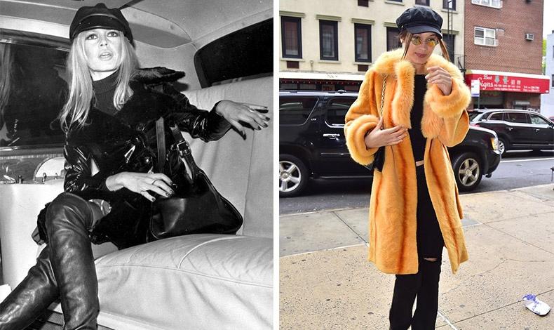 Η Μπριζίτ Μπαρντό ήταν από τις πρώτες γυναίκες που φόρεσαν τραγιάσκα (φωτό: Στη λιμουζίνα που τη μετέφερε από το αεροδρόμιο Χίθροου στο Λονδίνο το 1968) // Η Bella Hadid έφερε την τάση στο προσκήνιο