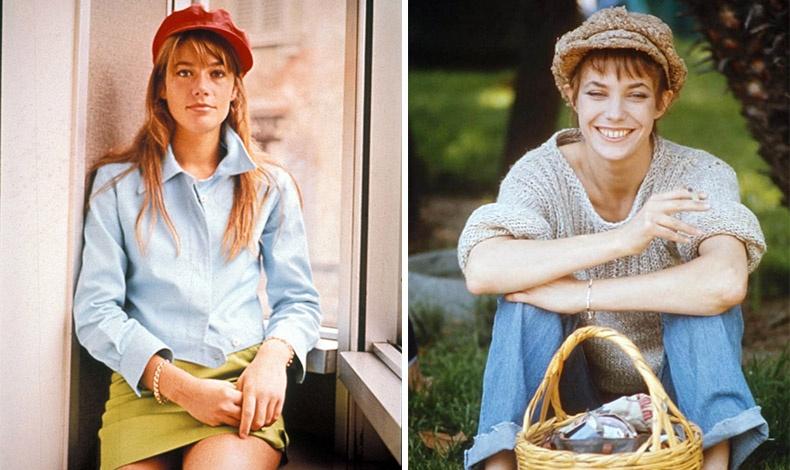 Η Φρανσουάζ Αρντί (αριστερά) στη Γαλλία και η Τζέιν Μπίρκιν (δεξιά) στην Αγγλία ήταν από τις πρώτες που φόρεσαν τραγιάσκα στις δεκαετίες του '60 και του '70