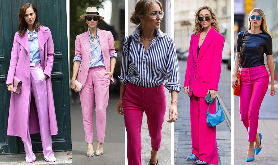 Ροζ κοστούμι ή παλτό με γαλάζιο είναι απλά τέλεια! // Ένα ριγέ πουκάμισο με φούξια παντελόνι για κάθε ημέρα // Φούξια κοστούμι με λαμπερά γαλάζια αξεσουάρ // Η Gigi Hadid παραδίδει μαθήματα… στιλ: σκούρα μπλε μπλούζα, φούξια παντελόνι, πορτοκαλί τσάντα και γαλάζιες γόβες
