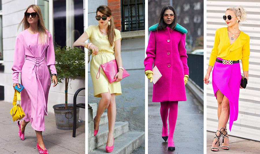 Συνδυάστε το ροζ με λαμπερό κίτρινο // Παστέλ κίτρινο με φούξια αξεσουάρ // Δυναμικό φούξια με δυνατές λεπτομέρειες σε κίτρινο και πετρόλ // Η εκτυφλωτική λάμψη του κίτρινου και του φούξια σε μία εμφάνιση