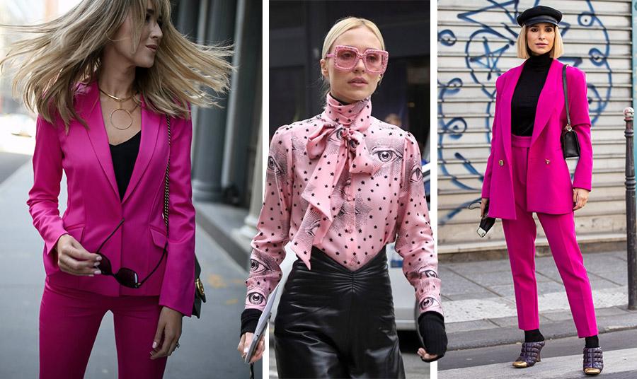 Ένα φούξια κοστούμι με μαύρα δεν περνά απαρατήρητο // Φορέστε ένα εντυπωσιακό ροζ πουκάμισο με δερμάτινη φούστα ή παντελόνι και ροζ γυαλιά!