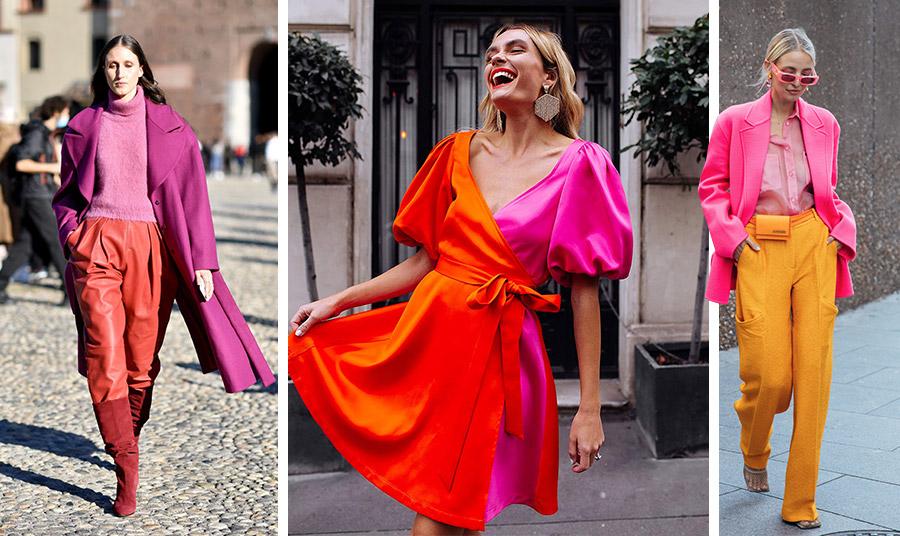 Σκονισμένο ροζ με αποχρώσεις του μοβ και του «καμένου» πορτοκαλί // Δύο χρώματα σε ένα φόρεμα, πορτοκαλί και φούξια // Αποχρώσεις του ροζ με κροκί παντελόνι, μία από τις πιο καλοκαιρινές ιδέες