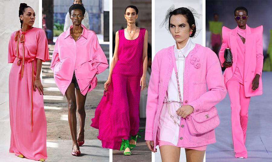 Το φούξια κυριαρχεί στις πασαρέλες για την άνοιξη-καλοκαίρι 2021 σε κάθε είδους εκδοχή: Roksanda // Valentino //Laura Biagiotti // Chanel // Balmain