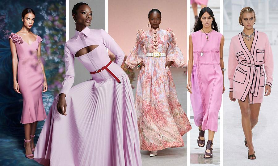 Διάφορες αποχρώσεις του ροζ από το millennial pink μέχρι το σκονισμένο ροζ από τους οίκους για την άνοιξη-καλοκαίρι 2021: Marchesa // Brandon Maxwel // Zimmerman // Chloé // Chanel