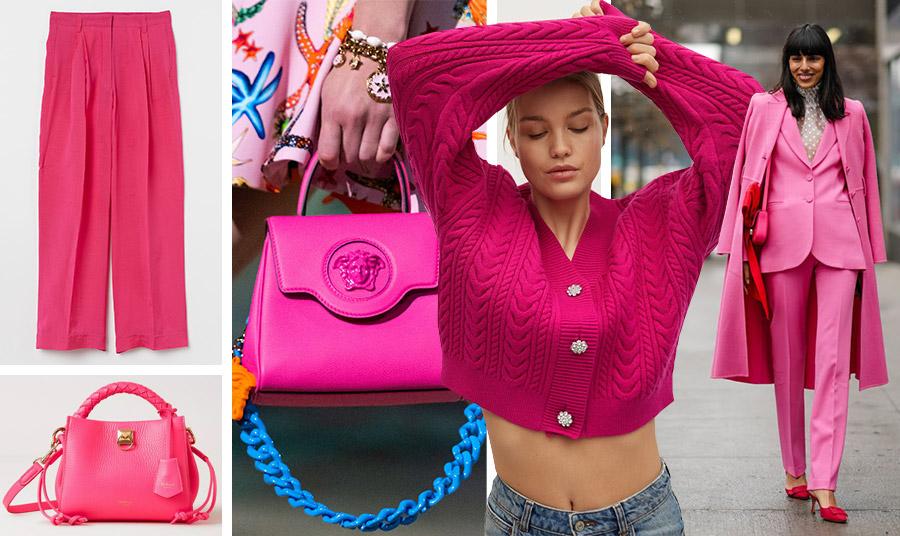 Φούξια παντελόνα, H&M // Δερμάτινη τσάντα, Mulberry // Ζωηρό φούξια για την τσάντα με λαμπερή γαλάζια αλυσίδα, Versace // Φούξια ζακέτα με κουμπάκια με στρας, Mango // Το απόγειο της μόδας: Το ροζ-φούξια κοστούμι και μάλιστα συνδυασμένο με κόκκινο