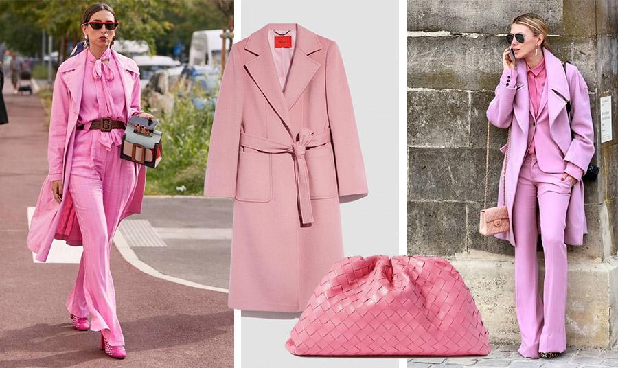 Η επιτομή του hot pink look! // Παλτό σε σκονισμένο ροζ, Μax&Co // Ροζ τσάντα, Bottega Veneta // Μονοχρωμία σε ροζ και τσαντάκι σε γήινο τόνο