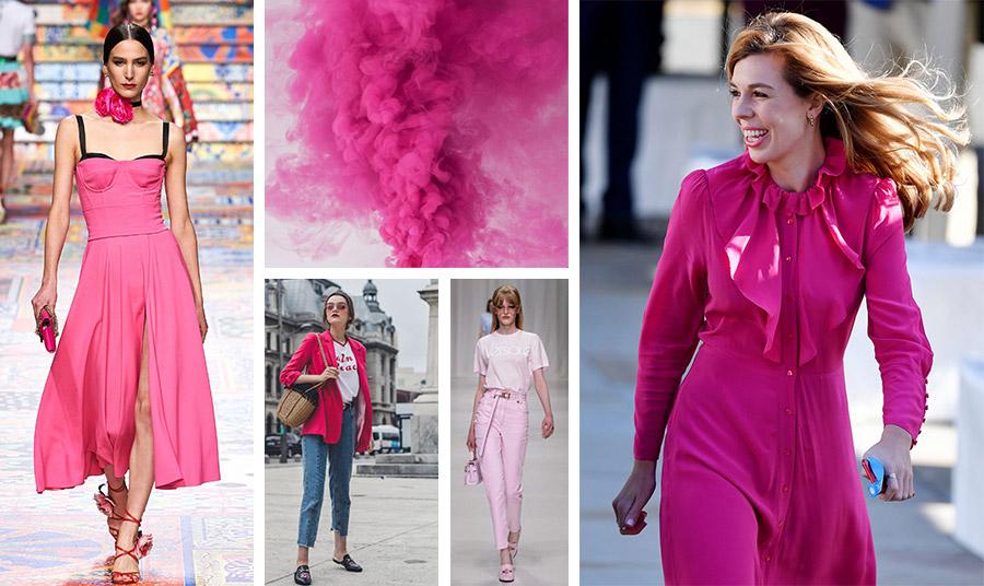 Σέξι φόρεμα σε ζωηρό φούξια, Dolce&Gabbana (αριστερά) ή ένα υπέροχο κομψό και θηλυκό; (δεξιά) // Φορέστε το φούξια με το τζιν ή σας ή ένα παστέλ τζιν ροζ παντελόνια με ανάλογο μπλουζάκι, (κέντρο)