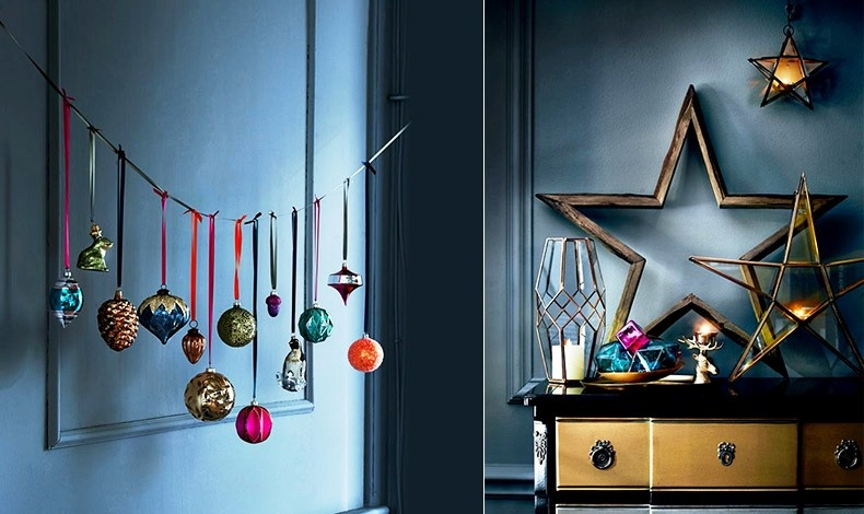 Κρεμάστε από όμορφες και διαφορετικών χρωμάτων σατέν ή βελούδινες κορδέλες τα πιο όμορφα στολίδια σας και δημιουργήστε μία σύνθεση σε κάποιον τοίχο // Κεριά, φαναράκια και κηροπήγια δίνουν το γλυκό τους γιορτινό φως