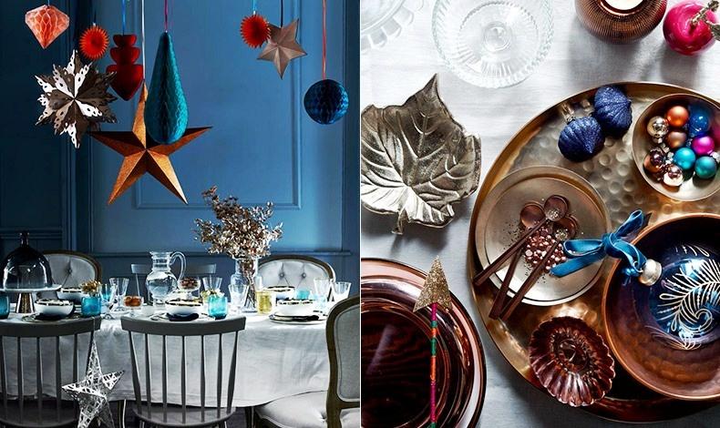 Χρησιμοποιήστε το φωτιστικό πάνω από το τραπέζι για να κρεμάσετε χάρτινα αστέρια και φαναράκια που δίνουν εορταστικό τόνο // Γεμίστε μπολάκια με χάντρες και μικρά χριστουγεννιάτικα στολίδια και διακοσμήστε το τραπέζι σας ή κάποιο τραπεζάκι του σαλονιού