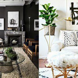 Μαύρο και άσπρο ντεκόρ με πινελιές από φυτά για να απαλύνουν το αισθητικό αποτέλεσμα // Μαξιλάρια με γραφίστικο στιλ δίνουν μία μοντέρνα πινελιά