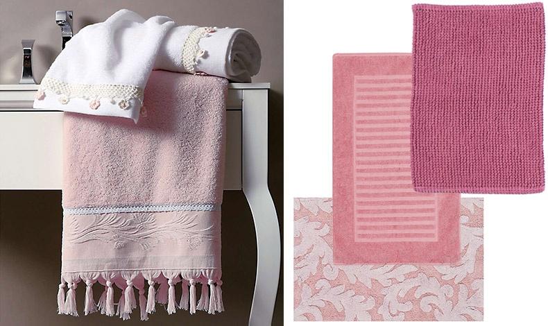 Πολυτέλεια και ρετρό διάθεση στο μπάνιο. Λευκές πετσέτες με κεντήματα και ροζ πετσέτες με κρόσσια το σετ των 3 τμχ. σε ειδική τιμή 33,60? // Χαλάκια μπάνιου εξαιρετικής ποιότητας σε διάφορα χρώματα και διαστάσεις NEF-NEF Homeware