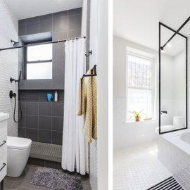 Τα ενιαία πλακάκια δαπέδου και τοίχων στο μπάνιο αναβαθμίζουν τον χώρο και δείχνουν κομψά, ενώ μία ακόμα τάση που θα εντυπωσιάσει είναι η αλλαγή των μπαταριών του μπάνιου από ανοξείδωτο σε μαύρο ματ υλικό
