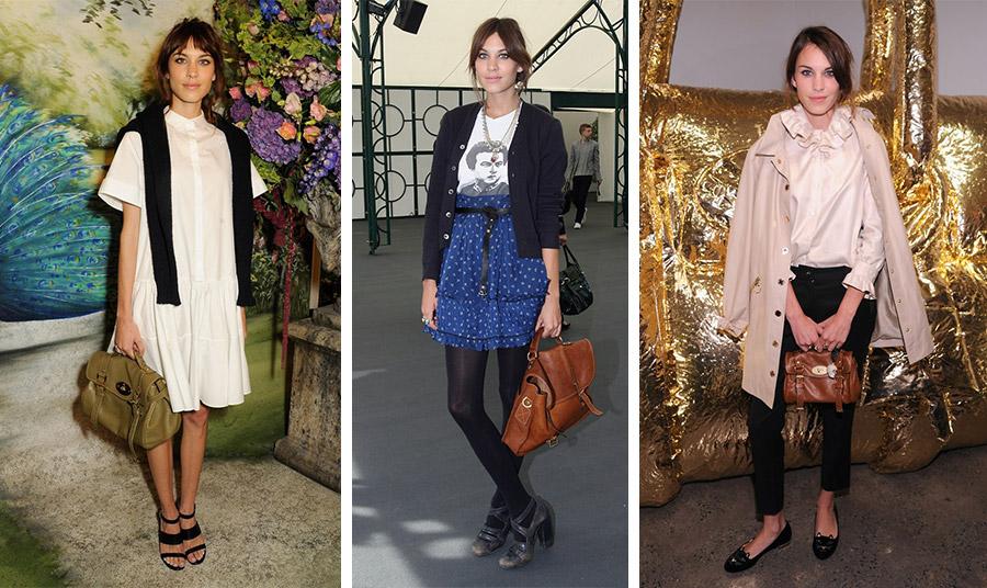 Η Alexa Chung σε διάφορες εμφανίσεις κρατώντας την τσάντα που η ίδια ενέπνευσε στη δημιουργία της από τον οίκο Mulberry