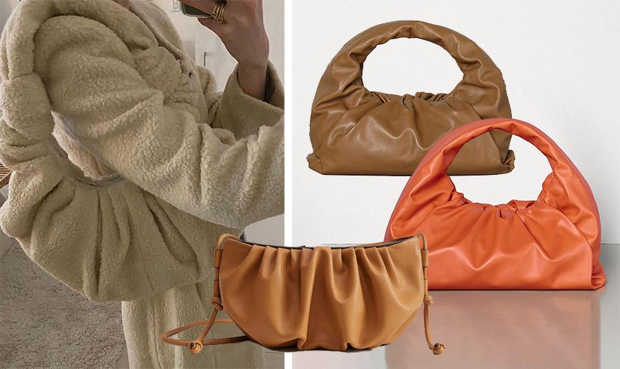 Η τσάντα-κρουασάν είναι αφράτη… δηλαδή από πολύ μαλακό δέρμα. Σε ταμπά ή απαλό πορτοκαλί χρώμα, Bottega Veneta // Η πιο οικονομική πρόταση της τσάντας, Mango