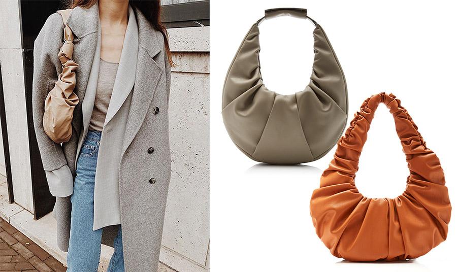 Το σχήμα της τσάντας είναι πρακτικό και εύχρηστο και συνδυάζεται εύκολα! Σε γκρι, Staud // Σε «καμένο» πορτοκαλί, Nanuska