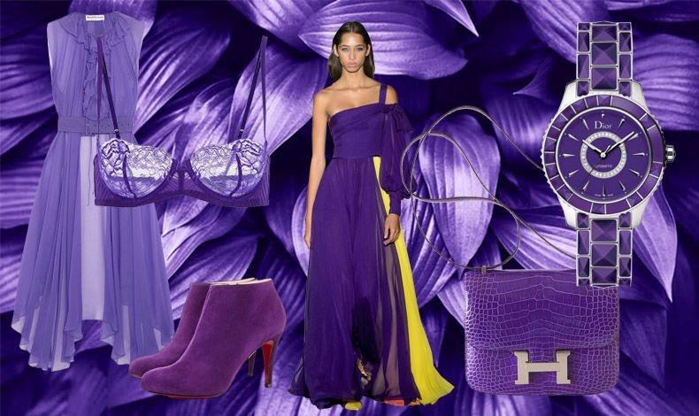 To Ultra Violet είναι ένα γοητευτικό μοβ που χαρίζει μία θεατρική υπόσταση στο στιλ μας! Φόρεμα, Balenciaga // Εσώρουχο, La Perla // Μποτίνια, Christian Louboutin// Μάξι φόρεμα, Carolina Herrera // Ρολόι, Dior // Τσάντα, Hermes