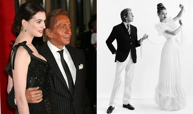 Ο Valentino με την αγαπημένη του φίλη, την ηθοποιό Αν Χαθαγουέι // Με το μοντέλο Natalia Vodianova, 2012 (© Cathleen Naundorf)