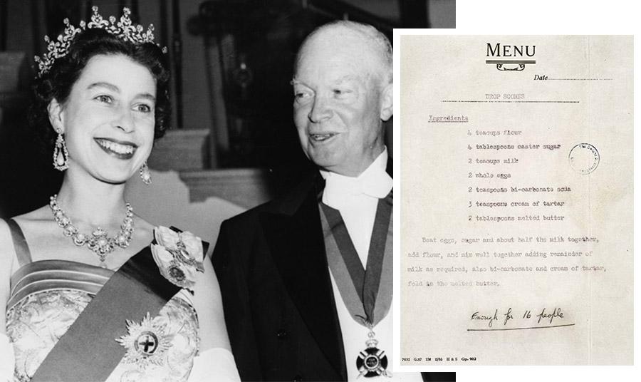 Η βασίλισσα Ελισάβετ με τον πρόεδρο των ΗΠΑ Dwight D Eisenhower σε επίσημο συμπόσιο του Λευκού Οίκου το 1957 // Η συνταγή που απέστειλε η βασίλισσα Ελισάβετ στο προεδρικό ζεύγος των ΗΠΑ