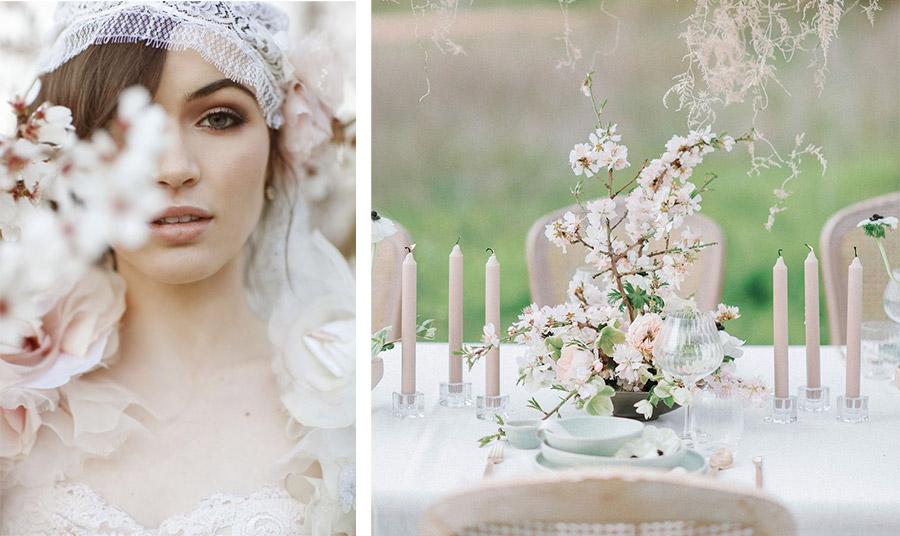 Οι ανθισμένες αμυγδαλιές είναι ρομαντικές και πανέμορφες ως «θέμα» για έναν γάμο της εποχής