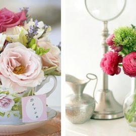 Τα τριαντάφυλλα και οι παιώνιες είναι στην καλύτερη εποχή τους Απρίλιο και Μάιο. Μικρά μπουκέτα μέσα σε ένα φλιτζάνι του τσαγιού ή σε μία χαμηλή γυάλινη κανάτα θα κάνουν τη διαφορά