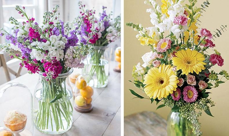 Βιολέτες μοβ, φούξια, ροζ και λευκές για μία άκρως ανοιξιάτικη σύνθεση // Ροζ, λευκά και κίτρινα λουλούδια για ένα φωτεινό αποτέλεσμα στο βάζο σας
