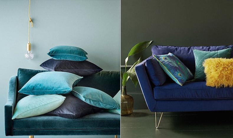 Δοκιμάστε διαφορετικών αποχρώσεων βελούδινα μαξιλάρια για να εντάξετε εύκολα την τάση στο σπίτι σας