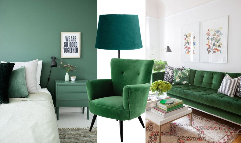 Σε αποχρώσεις του σκούρου πράσινου (που επίσης είναι της μόδας, π.χ. μερικά μαξιλαράκια στο κρεβάτι, ένα πορτατίφ που δίνει ατμοσφαιρικό φωτισμό ή πάλι ολόκληρα έπιπλα ντυμένα από βελούδο