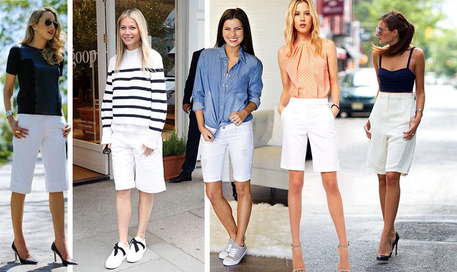 Επιλέξτε μία λευκή βερμούδα! Φορέστε την με μαύρο μπλούζα και γόβες για το γραφείο αλλά και το βράδυ // Με sneakers και μία μαρινιέρα για τις διακοπές σας, όπως η Γκουίνεθ Πάλτροου // Για τις βόλτες σας με ένα τζιν πουκάμισο // Με ένα μεταξωτό πουά ή ένα crop top και ψηλοτάκουνα παπούτσια για μία βραδινή έξοδο