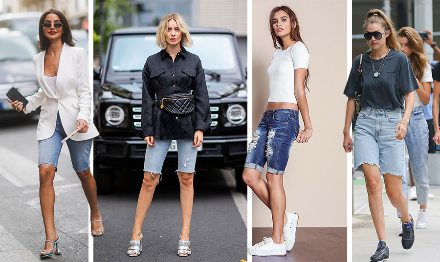 Jean for ever! Η τζιν βερμούδα είναι και φέτος εδώ και δίνει άπειρες επιλογές συνδυασμών. Με σακάκι και αυστηρό πουκάμισο και ψηλά τακούνια ή με ένα απλό λευκό T-shirt και αθλητικά ή ένα casual look σε φαρδιά γραμμή, όπως το φορά η Gigi Hadid
