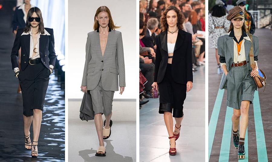 Βερμούδες με σακάκι σαν εναλλακτική του κοστουμιού κατέκλυσαν τις πασαρέλες για την άνοιξη-καλοκαίρι 2020: Chloé // Givenchy // Saint Laurent // Miu Miu