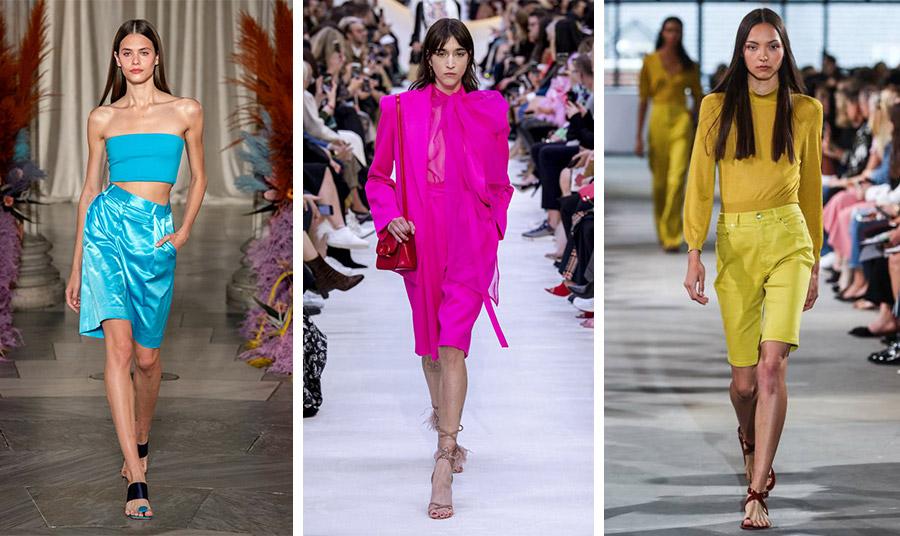 Λαμπερά χρώματα και μάλιστα σε απόλυτη μονοχρωμία ήταν μία από τις τάσεις για τις βερμούδες για τη φετινή σεζόν: Σε τιρκουάζ, Staud // Σε φούξια, Valentino // Σε κίτρινο, Tibi